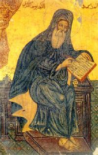 John of Damascus, attentive to his work, a halo of awareness around him